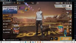 Open free fire game in laptop