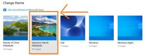 Install a Microsoft themes in window 10