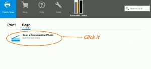 Select the option scan a document or photos