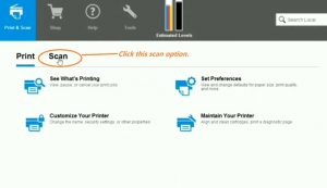 Click to scan a photos or document from HP Printer